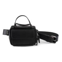 Mini geanta neagra RENA din piele naturala, model Carly RNS002-01N + curea