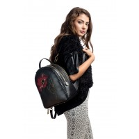 RENA Lookbook - Rucsac negru din piele naturala brodat manual, model Anastasia RNXL3008