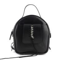 Rucsac negru din piele nappa, accesorizat cu impletitura cu lant metalic, model SHEA RNL265-01N