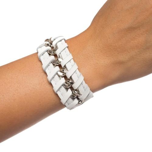 Bratara RENA alba din piele naturala cu lant argintiu, model Anastasia RNB001-01AG