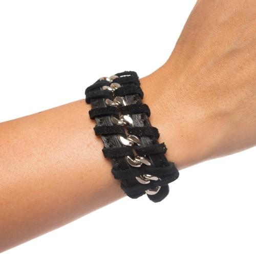 Bratara RENA neagra din piele naturala cu lant argintiu, model Anastasia RNB001-01AG