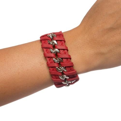 Bratara RENA rosie din piele naturala cu lant argintiu, model Anastasia RNB001-05AG