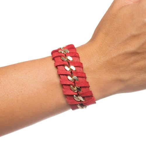 Bratara RENA rosie din piele naturala cu lant auriu, model Anastasia RNB001-05AU