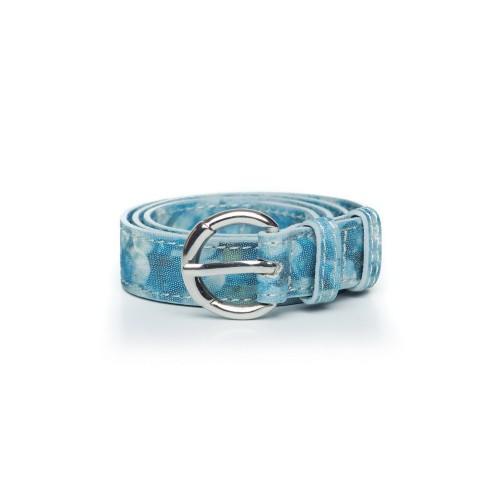 Curea bleu sidefat din piele naturala, model Elsa RNC25-07N