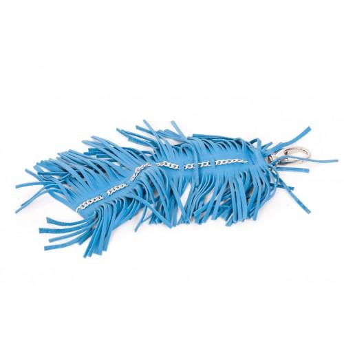 Franjuri ornament din piele naturala albastra - accesorii genti