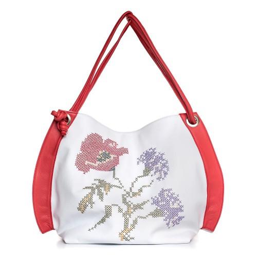 Geantă RENA alb cu roșu din piele naturală brodată manual cu motive florale, model Eva RNXL372-13N