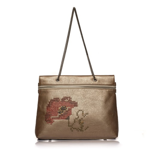 Geanta RENA bronz din piele naturala brodata manual, model Tania RNXL3007-17N