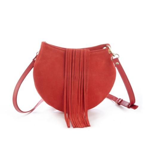 Mini geanta rotunda din piele intoarsa rosie