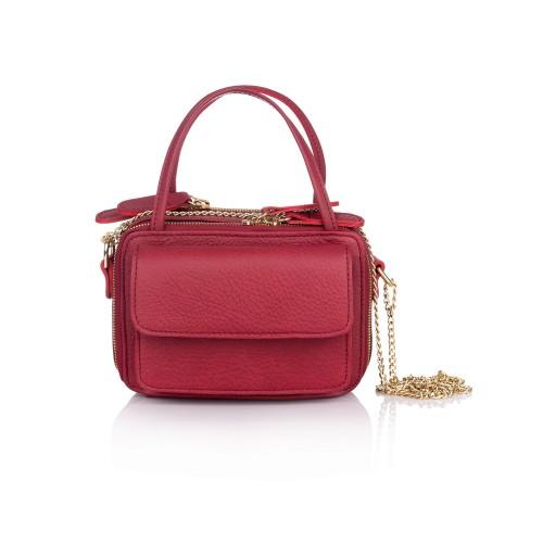 Mini geanta RENA din piele naturala visinie cu lant auriu, model Carly RNXS002-23N
