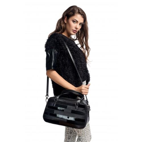 RENA Lookbook - Geanta neagra din piele naturala, model Sophie RNL225.