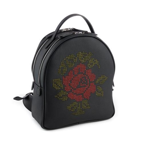 Rucsac negru RENA din piele naturala brodat manual, trandafir, model Anastasia RNXL3008-01NR