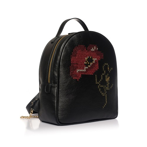 Rucsac negru RENA din piele naturala brodat manual, model Anastasia RNXL3009-01N